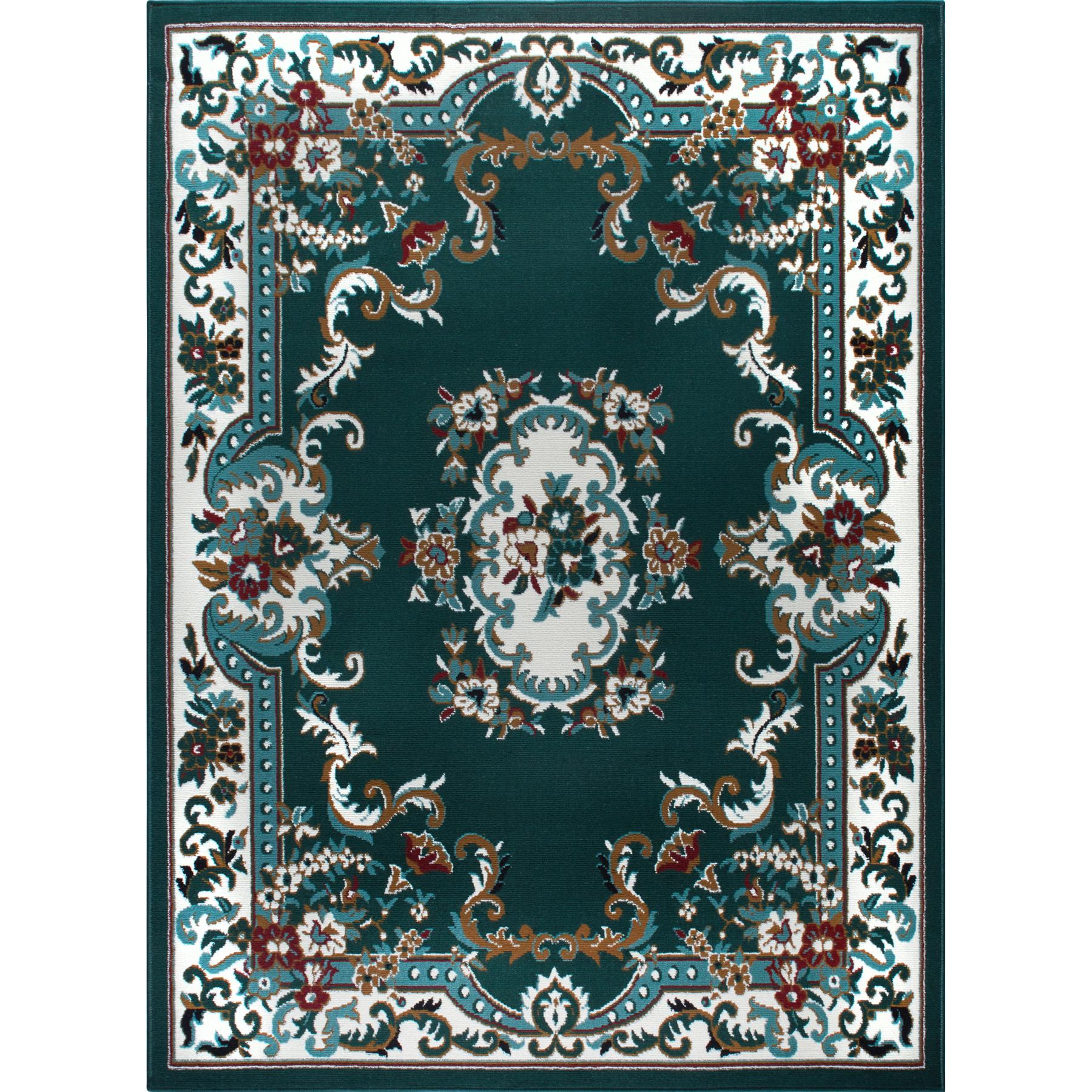 Oriental-Floral-Border-Medallion-Area-Rug-Scrolls-Traditional-Persien-Carpet thumbnail 5
