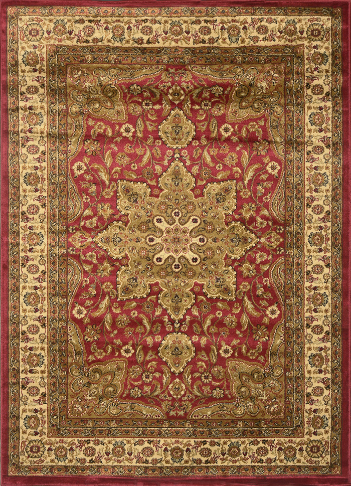 ORIENTAL BLACK BROWN IVORY RED PERSIAN MEDALLION AREA