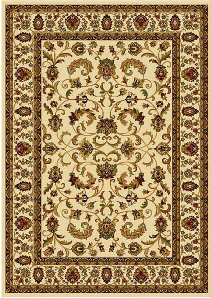 Cream Ivory Beige Bordered Traditional Area Rug Persian