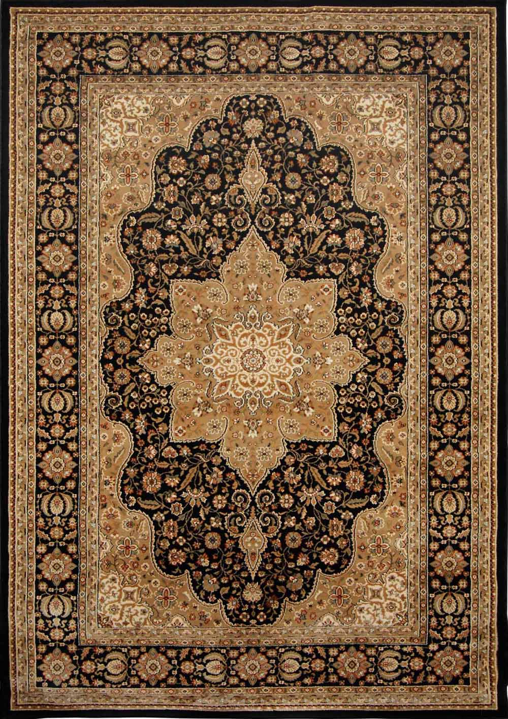 Beige Black Bordered Medallion Rugs Area Rug Traditional