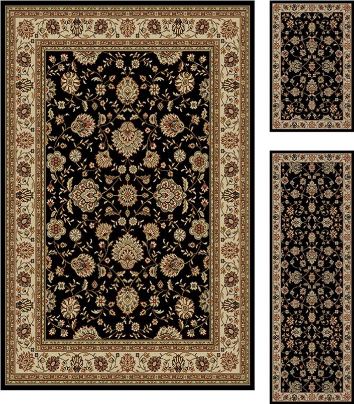3 Piece Set Floral Persian Black Border Area Rug Combo