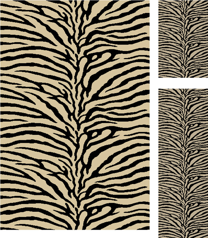 3 Piece Rug Set Zebra Beige Stripes Transitional Carpet