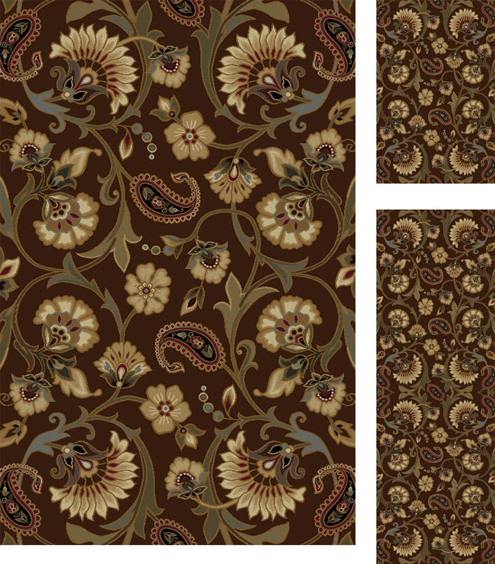 Paisley Area Rugs: 3 PIECE COMBO TRANSITIONAL PAISLEY FLORAL VINES CASUAL