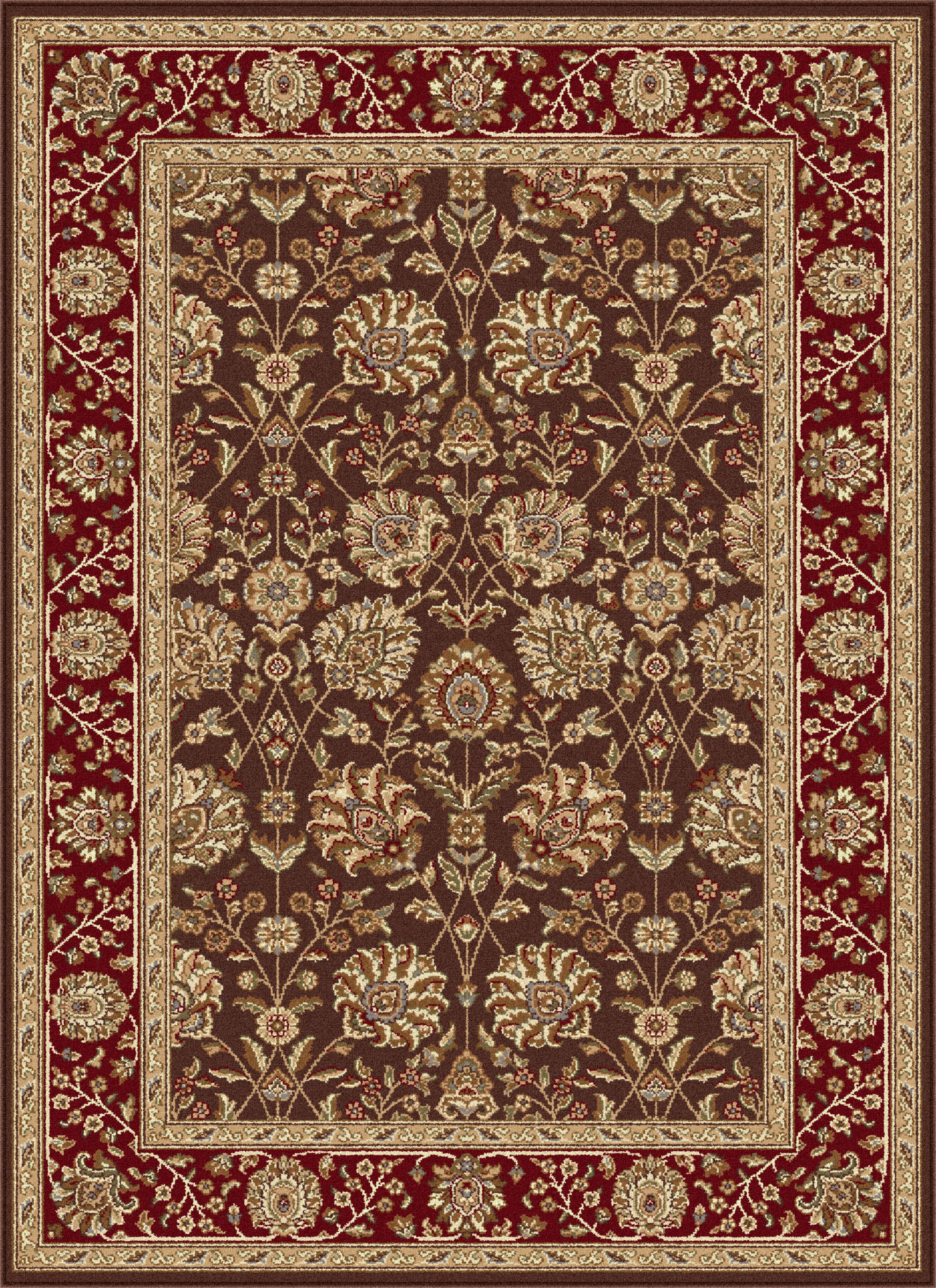 Brown Vines Scrolls Oriental Area Rug Floral Bordered
