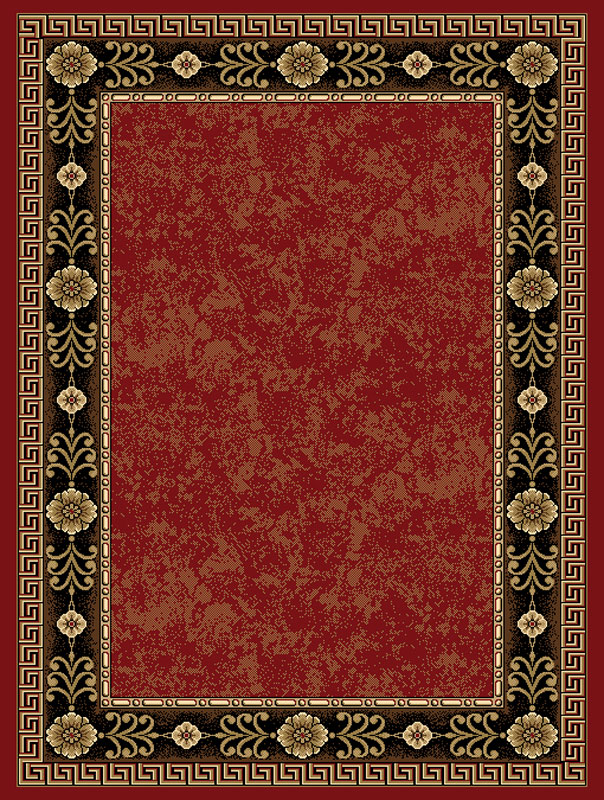 Burgundy Red European Bordered Carpet 5x7 Greek Key Area