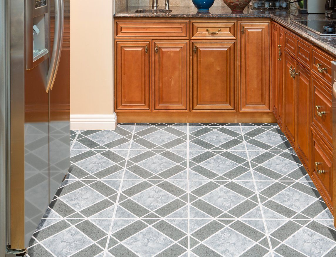 Decorative vinyl floor tiles