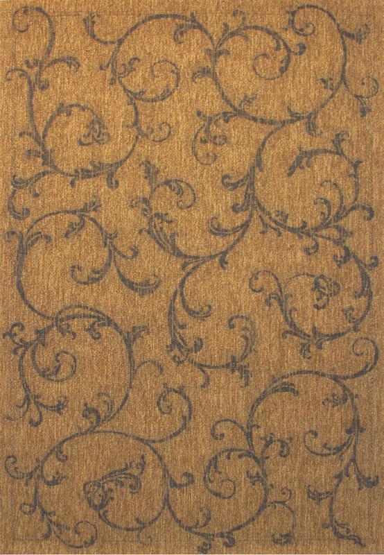 Casual Vines Outdoor Carpet 5x8 Border Scrolls Patio Area