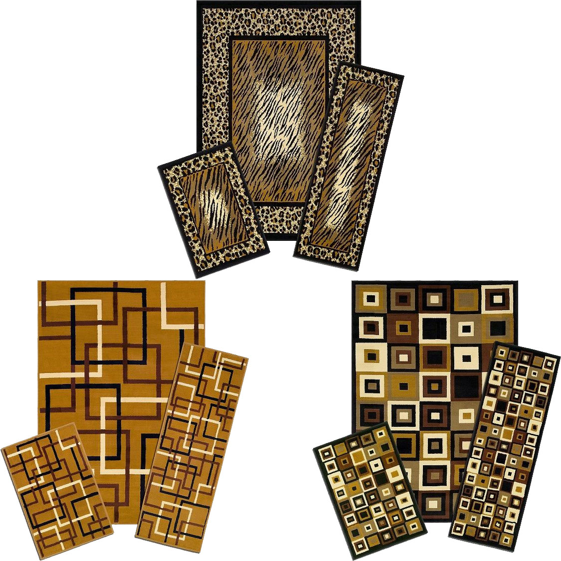 Modern Geometric Accent Mat Runner Area Rug 3 Piece Set