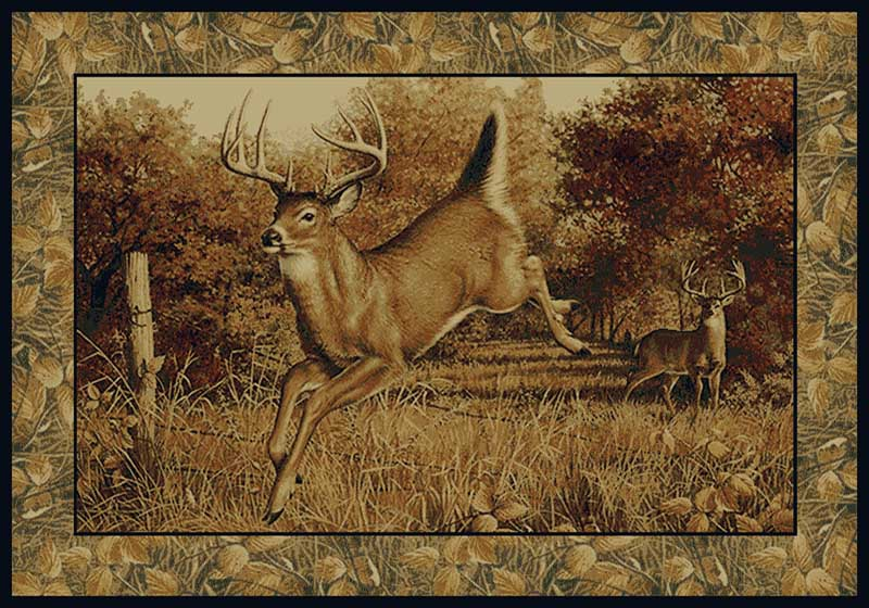 Rustic Buck Deer Lodge 5x8 Area Rug Wildlife Cabin Carpet