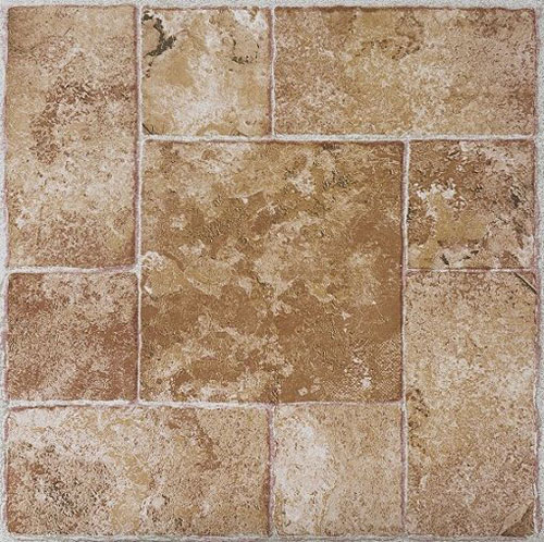 Mosaic slate brick stone self stick adhesive vinyl floor for Stick on vinyl flooring