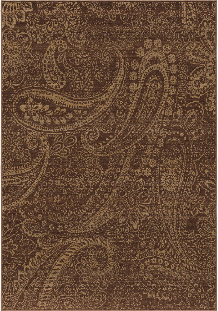 Brown Paisley Leaves Petals Curls Transitional Area Rug
