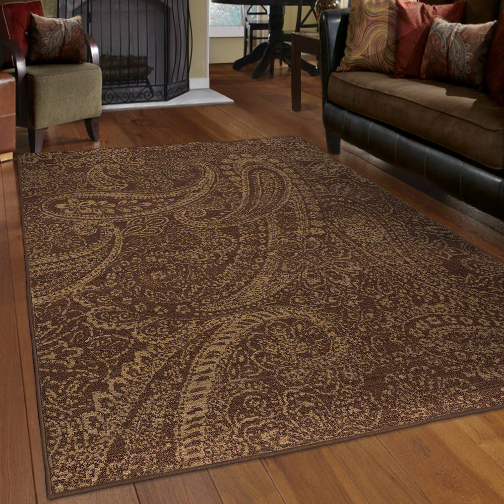 Paisley Area Rugs: Brown Paisley Leaves Petals Curls Transitional Area Rug