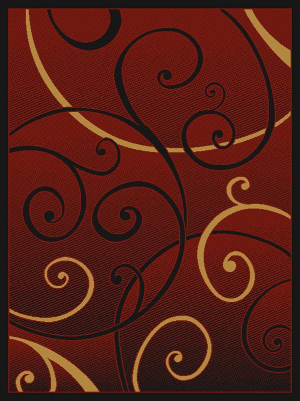 Burgundy Red Black Scrolls Vines Floral Modern Casual