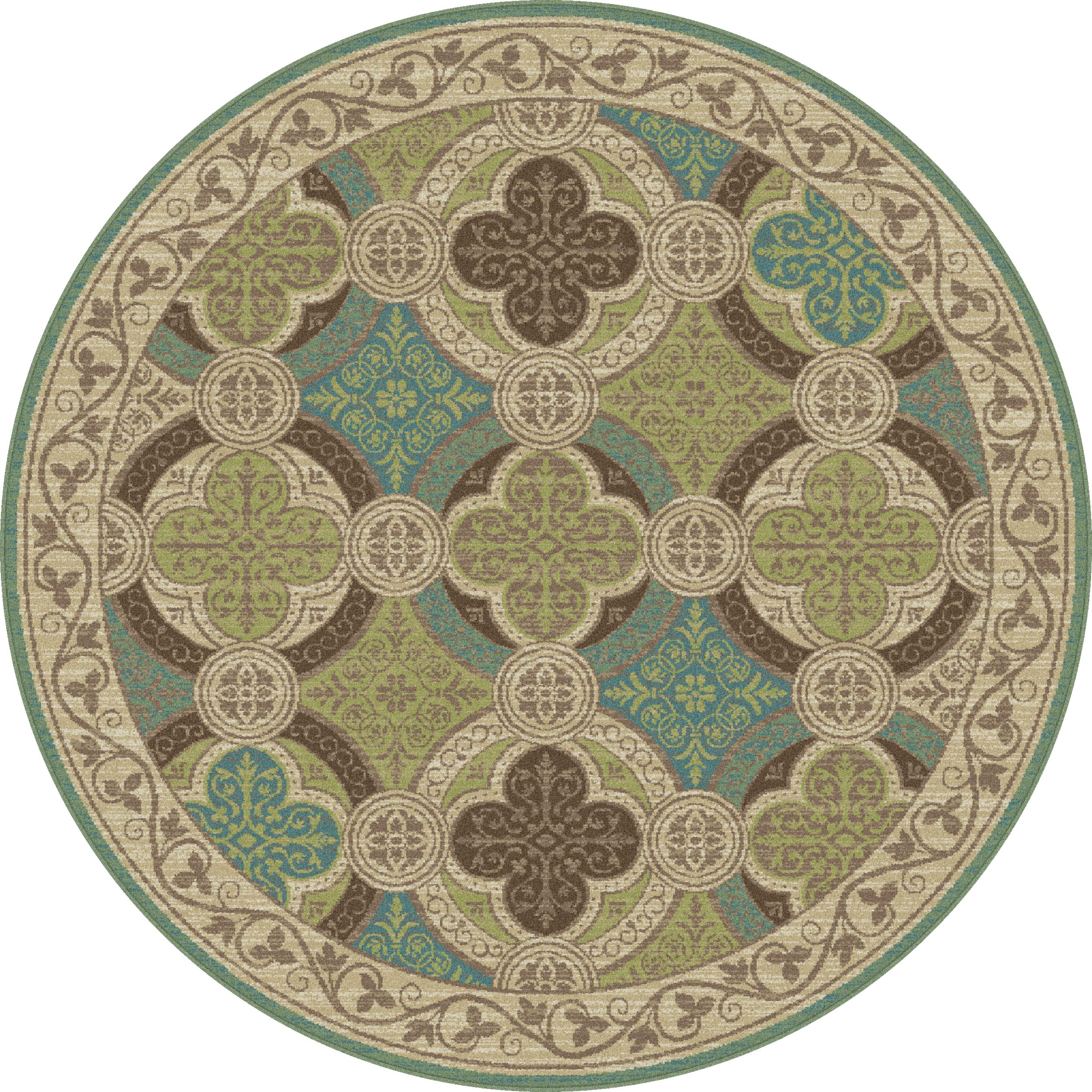 Beige Transitional Vine Border Area Rug Geometric Circles