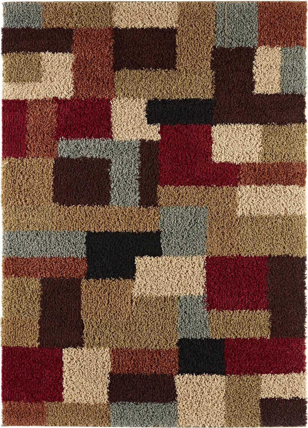 Multi color contemporary shag geometric boxes area rug for Geometric area rugs contemporary