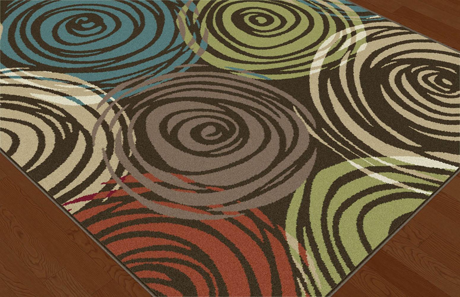 ^ Brown ontemporary ircles rea ug Modern Geometric Swirls Multi ...