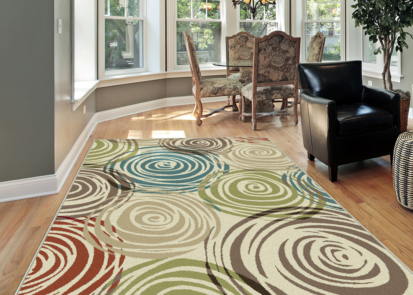 ^ Ivory ontemporary ircles rea ug Modern Geometric Swirls Multi ...