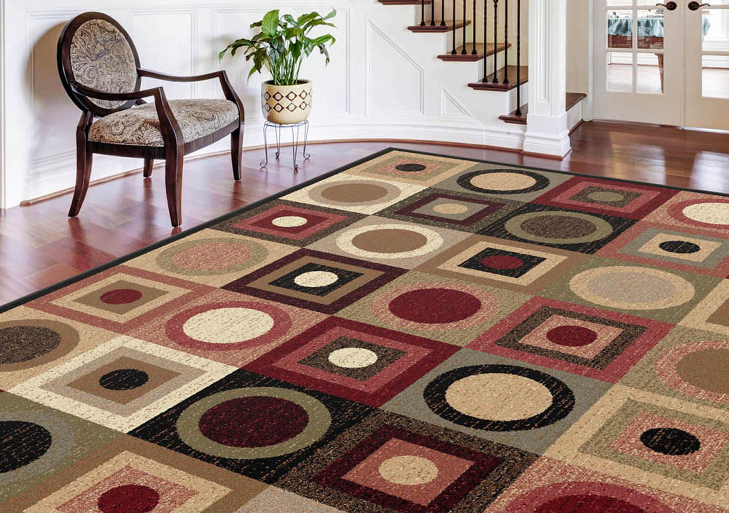 Modern multi geometric circles squares area rug red black for Red area rugs contemporary