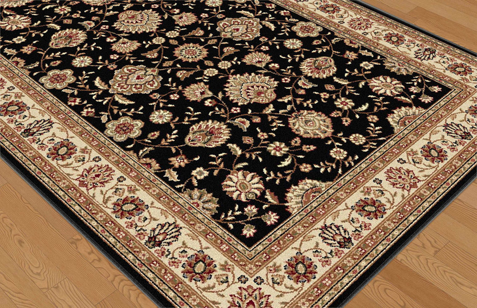 Black Traditional Persian Floral Area Rug Red Ivory
