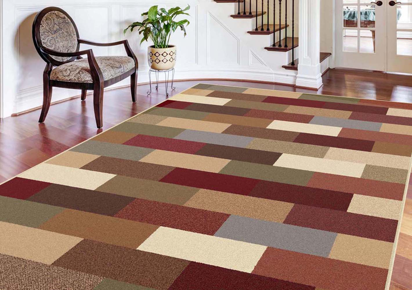 CONTEMPORARY green BLUE brown RED geometric AREA rug MODERN boxes
