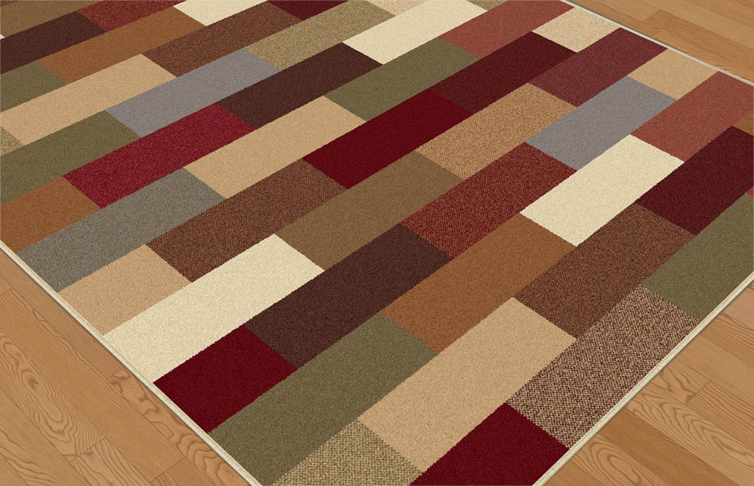 Contemporary green blue brown red geometric area rug for Red area rugs contemporary