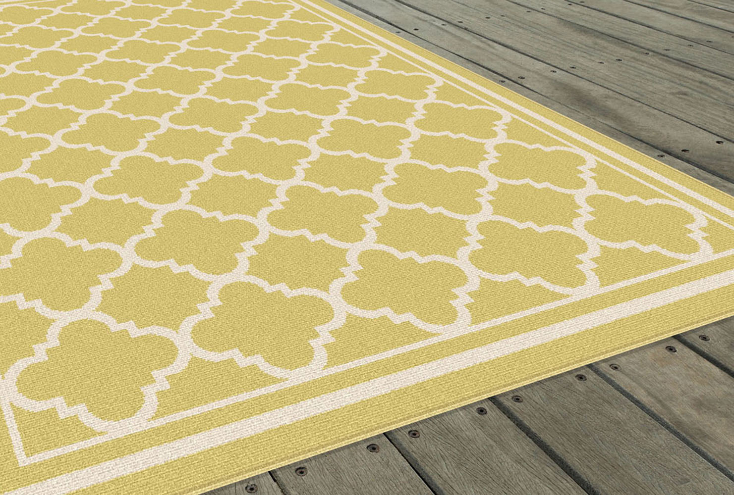 Garden City Yellow Transitional Moroccan Outdoor Geometric