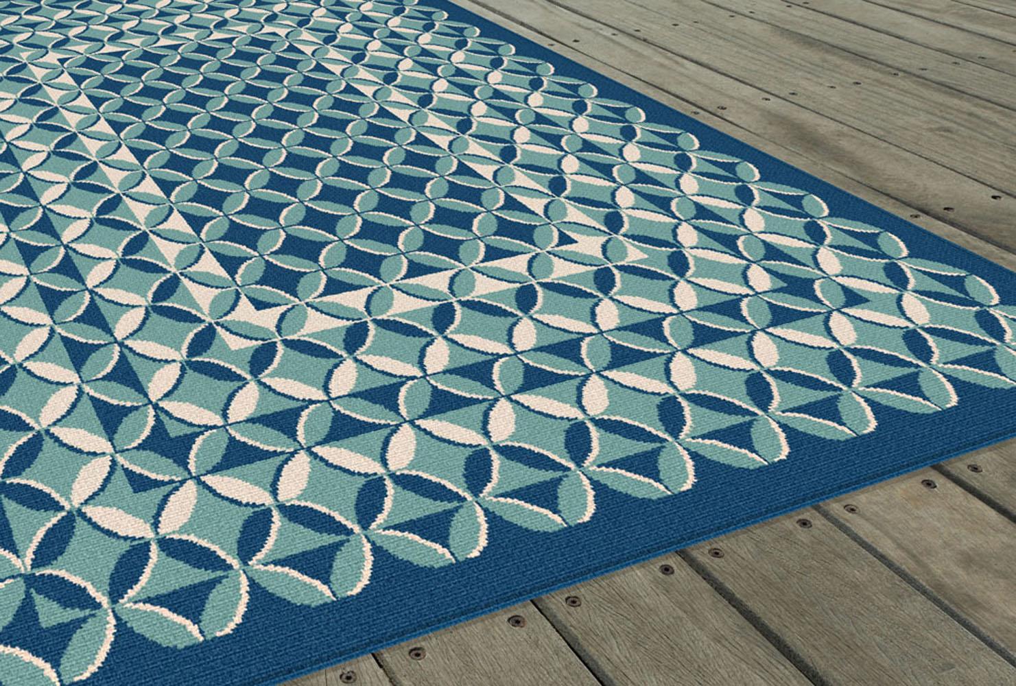 Blue contemporary geometric area rug circles loops rings for Geometric area rugs contemporary