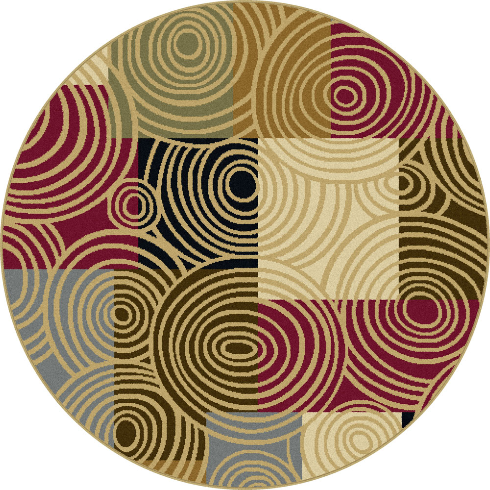 Multi contemporary circles 5 39 round area rug swirls modern for Round contemporary area rugs