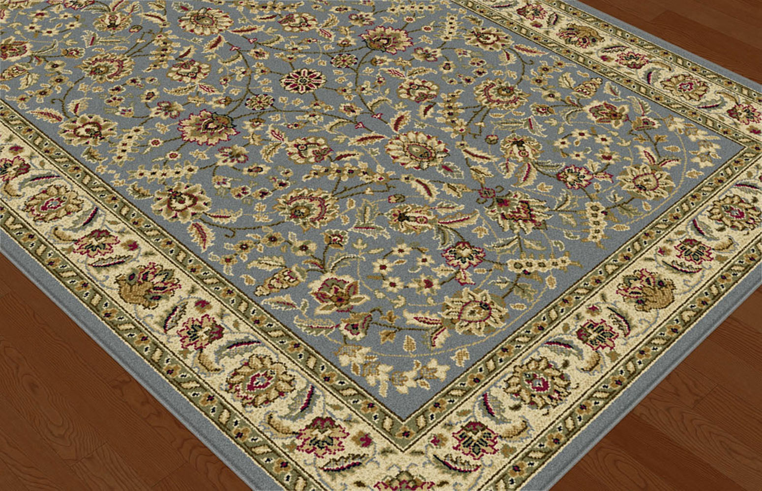 Blue Traditional Oriental Floral Vine Area Rug Multi