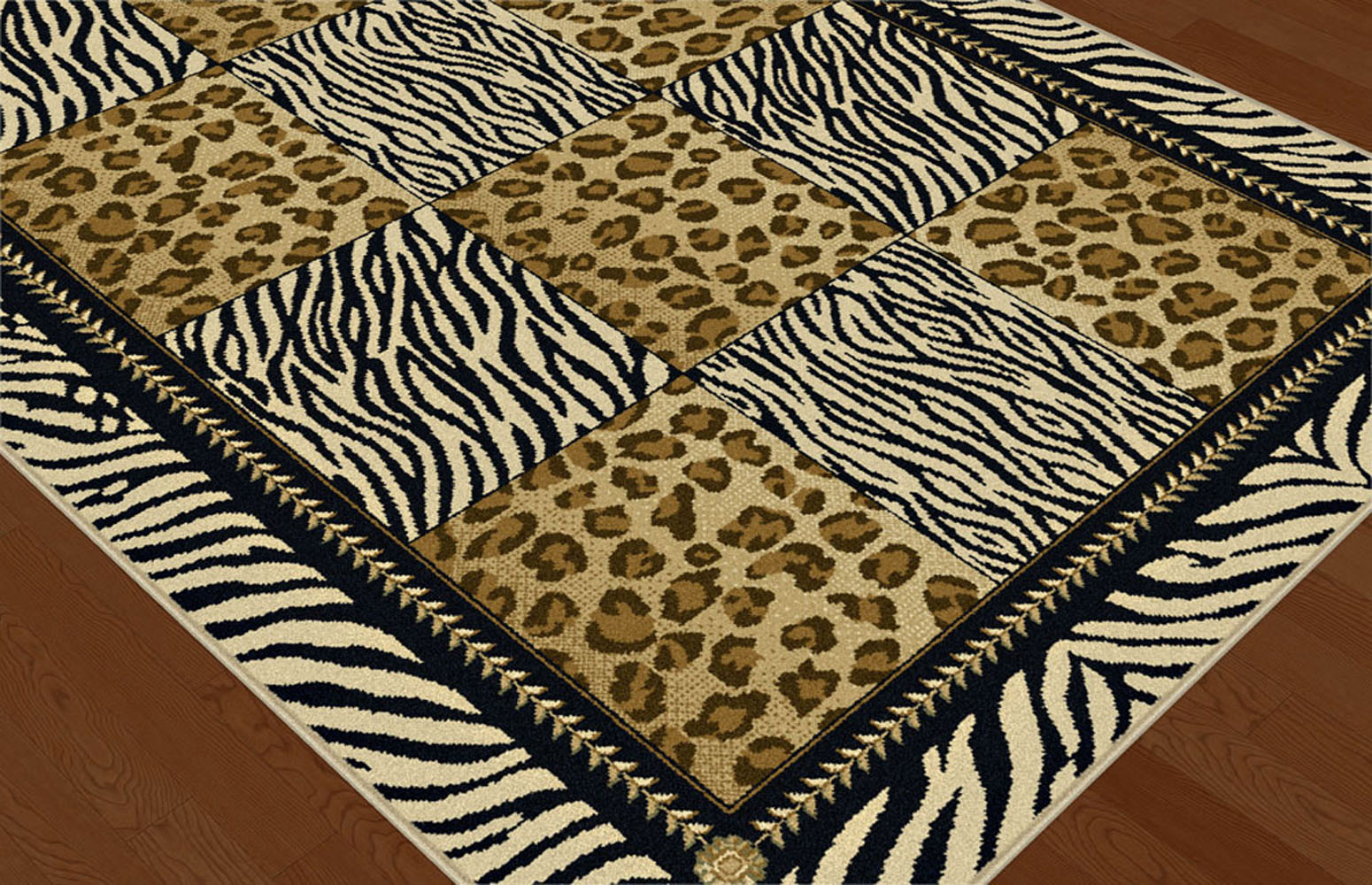 Multi color casual leopard print geometric squares area for Geometric print area rugs