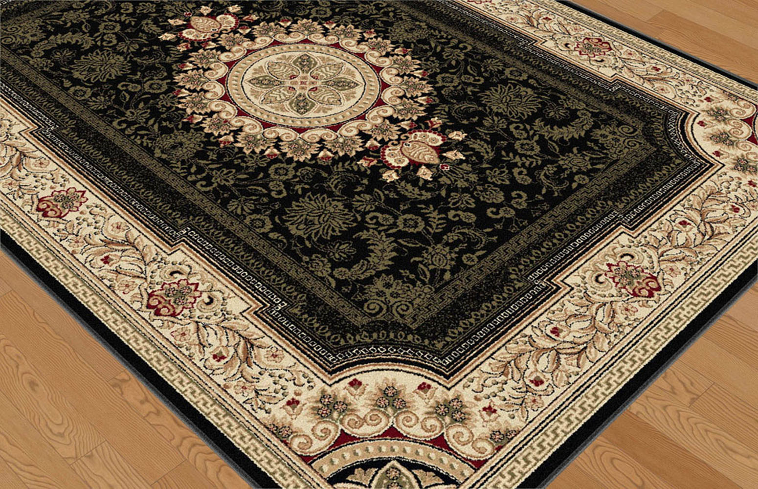French Oriental Rugs : Black european french medallion traditional area rug