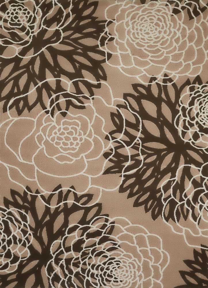 Brown Leaves Petals Rose Outline Contemporary Area Rug