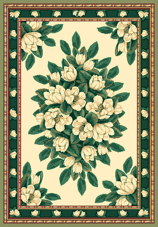 Ivory cream green magnolia floral carpet traditional for Green and cream rugs