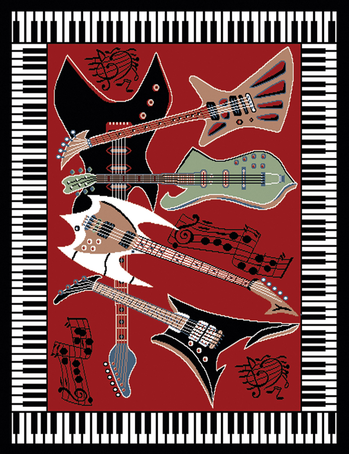 Delightful Musical Instrument Piano Key Bordered Red Area Rug Guitar Music Notes Carpet