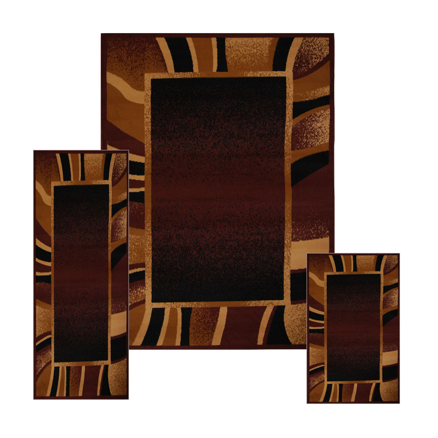 Contemporary Geometric Bordered 3 Pieces Area Rug Modern
