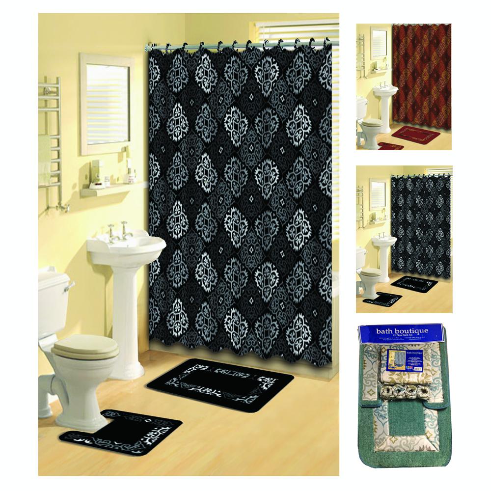 Transitional 15 Pieces Shower Curtain Contour Bath Mat W