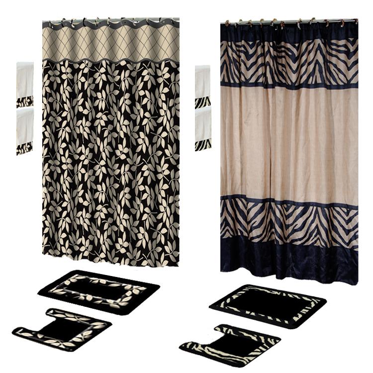 Contemporary Black 17 Piece Bath Rug Shower Curtains With
