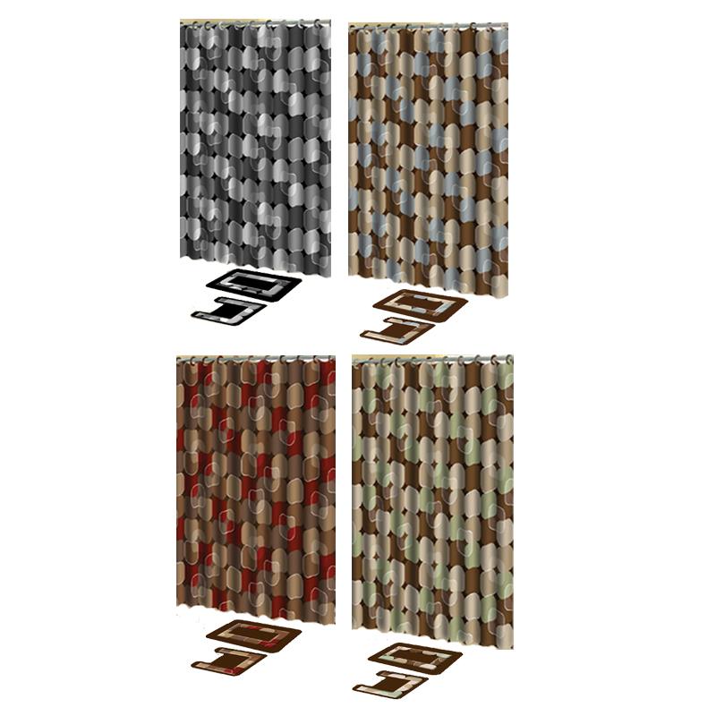 modern dots 15 pieces shower curtain contour bath mat w