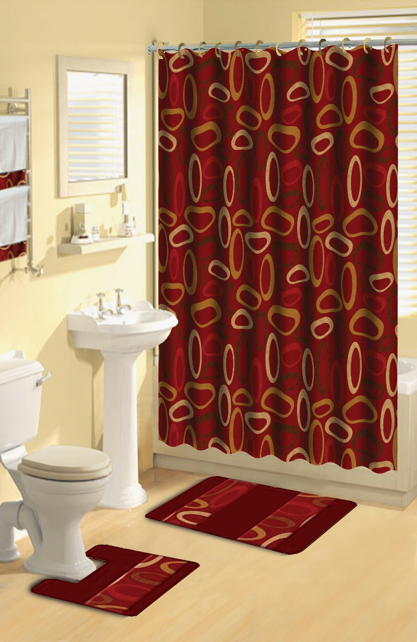 modern geometric burgundy rings 17 piece bath rug shower curtain hooks towel set ebay. Black Bedroom Furniture Sets. Home Design Ideas
