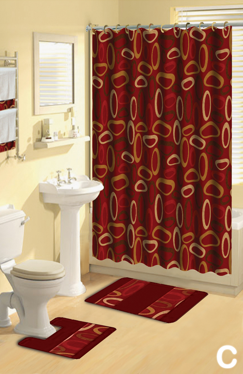 shower curtains 17 pcs set contemporary bath mat contour rug hooks hand towels ebay. Black Bedroom Furniture Sets. Home Design Ideas