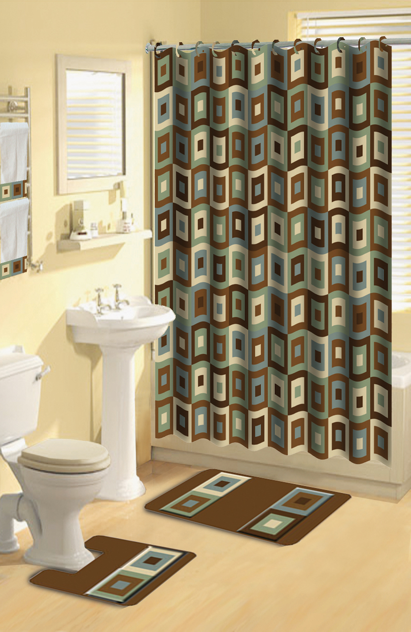 Bathroom shower curtain and rug set
