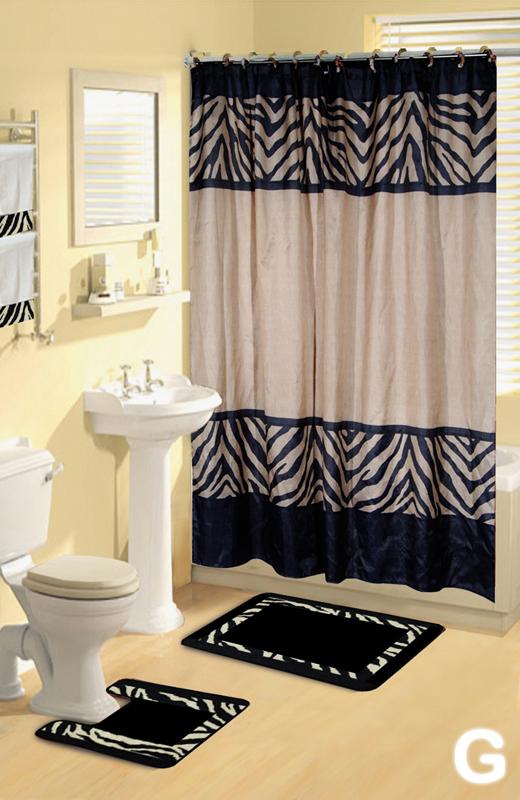 Shower Curtains bathroom shower curtains and rugs : Shower Curtains 17 pcs Set Contemporary Bath Mat Contour Rug Hooks ...