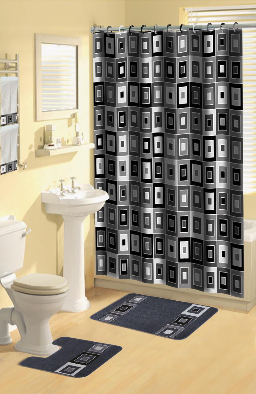 Squares 17 Pc Bath Rug Shower Curtains Hooks Towel Set On