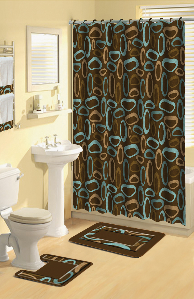 Modern Geometric Brown Oval Rings 17 Pc Bath Rug Shower Curtains Hooks Towel Set Ebay