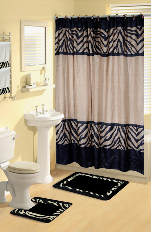 Safari animal print 17 pieces bath rug shower curtains for Zebra print and red bathroom ideas