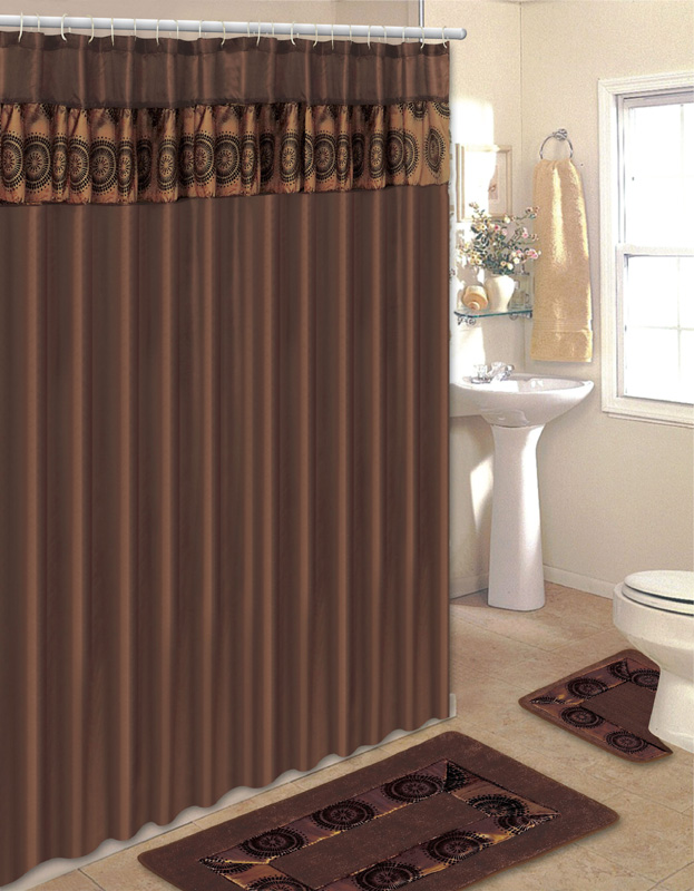 Geometric brown embroidered 15 pcs bathroom shower curtain hooks bath