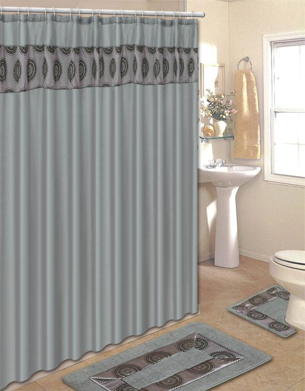 Solid Embroidered 15 Pcs Bathroom Shower Curtain Hook Bath Rug ...