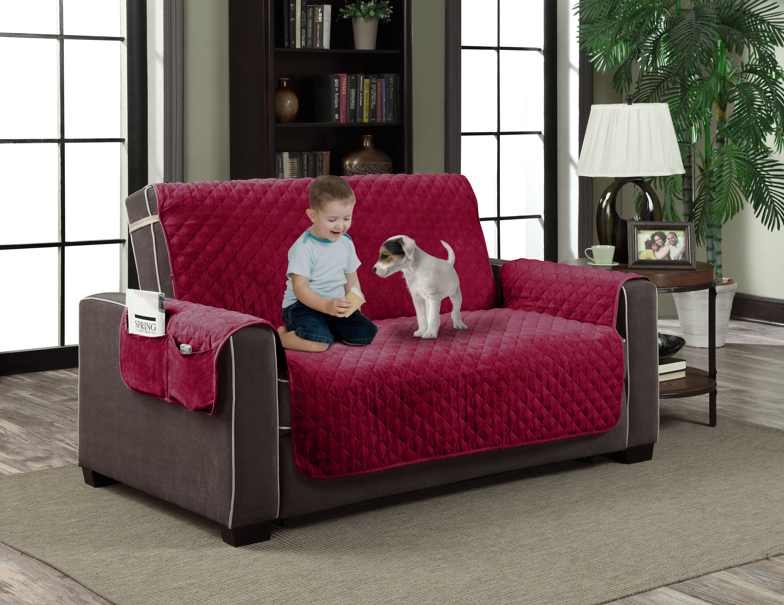 Pocket Red Microfiber Couch Slipcover Pet Dog Cat