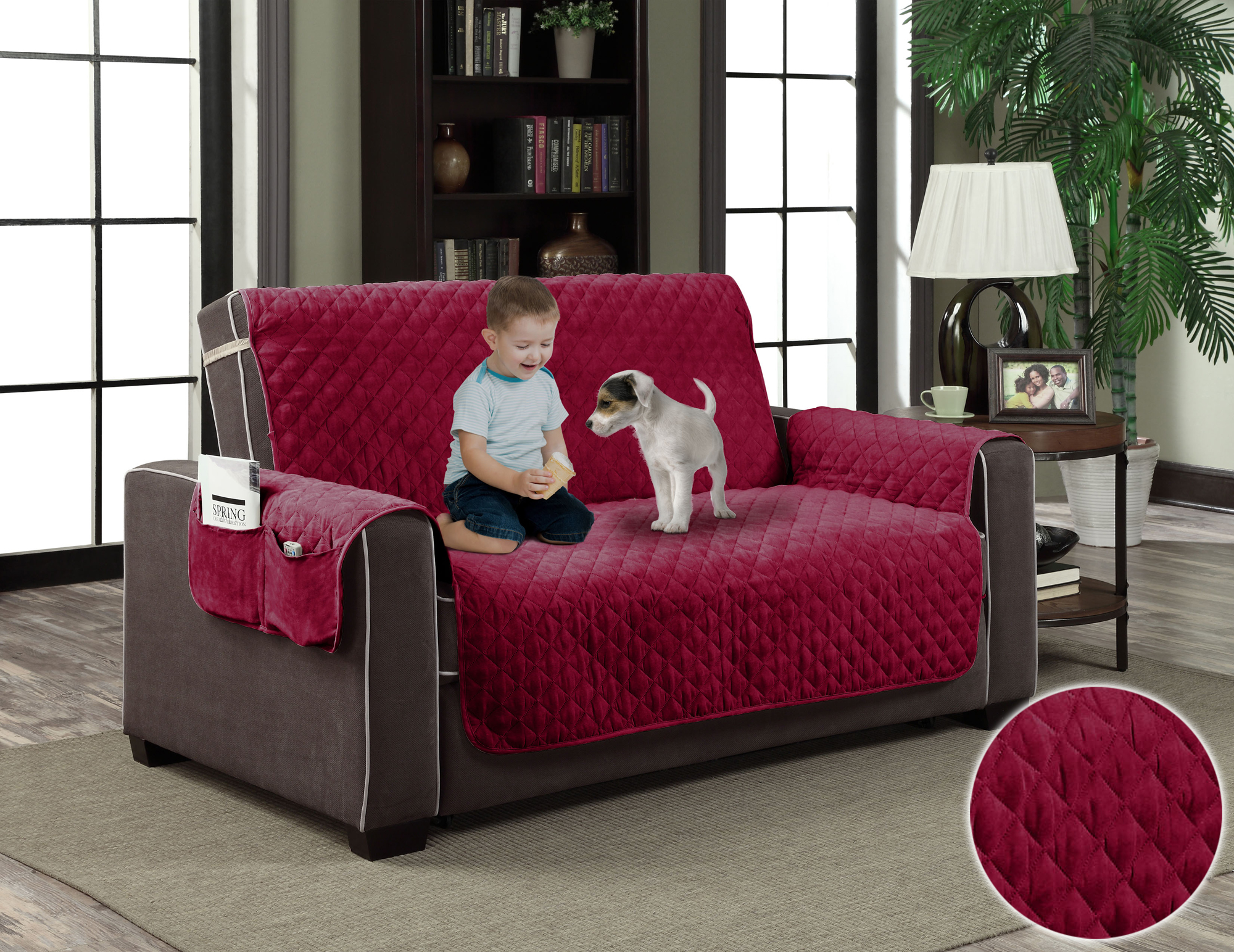 micro suede slipcover pockets pet dog couch furniture protector cover love seat ebay. Black Bedroom Furniture Sets. Home Design Ideas