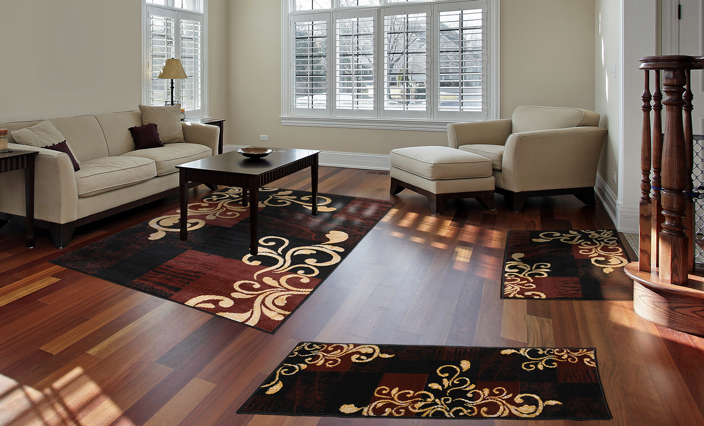 3 Pc Set Modern Contemporary Geometric Area Rug